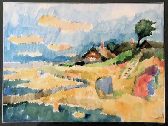 "Viktor Schlötzer (Suceava 1923 - 1996 ? Dresden): ""the beach in Ahrenshoop with the house of artists"". Watercolor on handmade paper. - photo 1"
