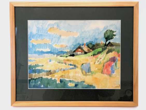 "Viktor Schlötzer (Suceava 1923 - 1996 ? Dresden): ""the beach in Ahrenshoop with the house of artists"". Watercolor on handmade paper. - photo 2"