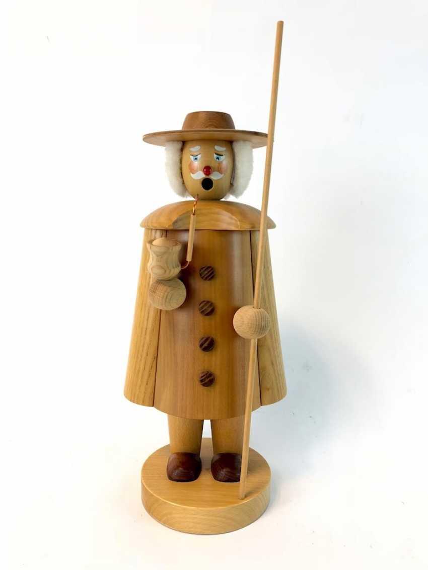Great Smoking Man Christmas Figure: Night Watchman / Shepherd. The ore mountains, handmade, very good. - photo 1