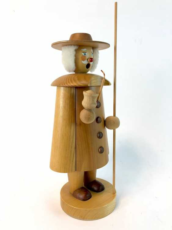 Great Smoking Man Christmas Figure: Night Watchman / Shepherd. The ore mountains, handmade, very good. - photo 2