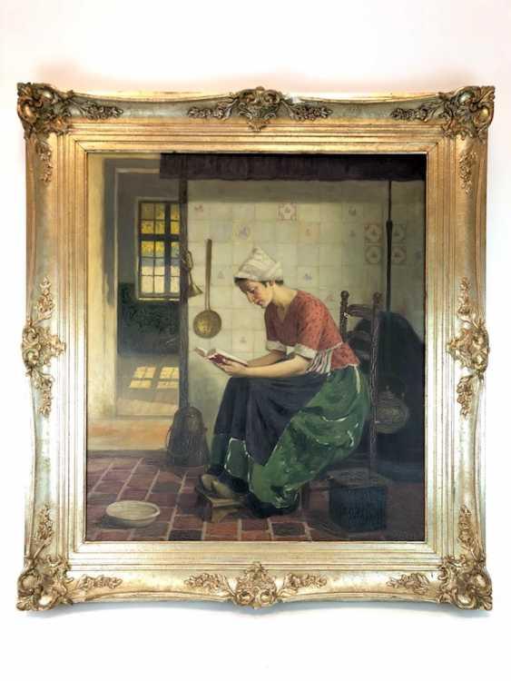 Голландский творческого художника: Читающая служанка на кухне. Холст, масло. Предыдущий 20. Века - фото 1