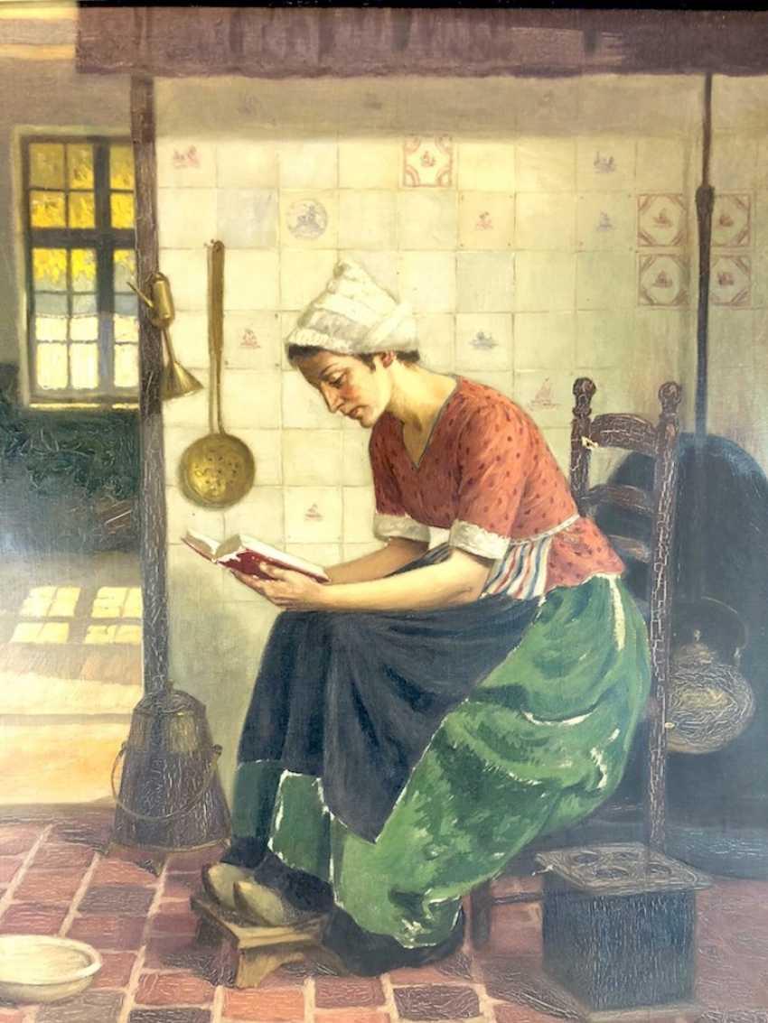 Голландский творческого художника: Читающая служанка на кухне. Холст, масло. Предыдущий 20. Века - фото 3