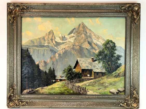 R. Queißer: Ferme devant Alpes Panorama. Huile sur Toile. Précoce de 20. Siècle - photo 1