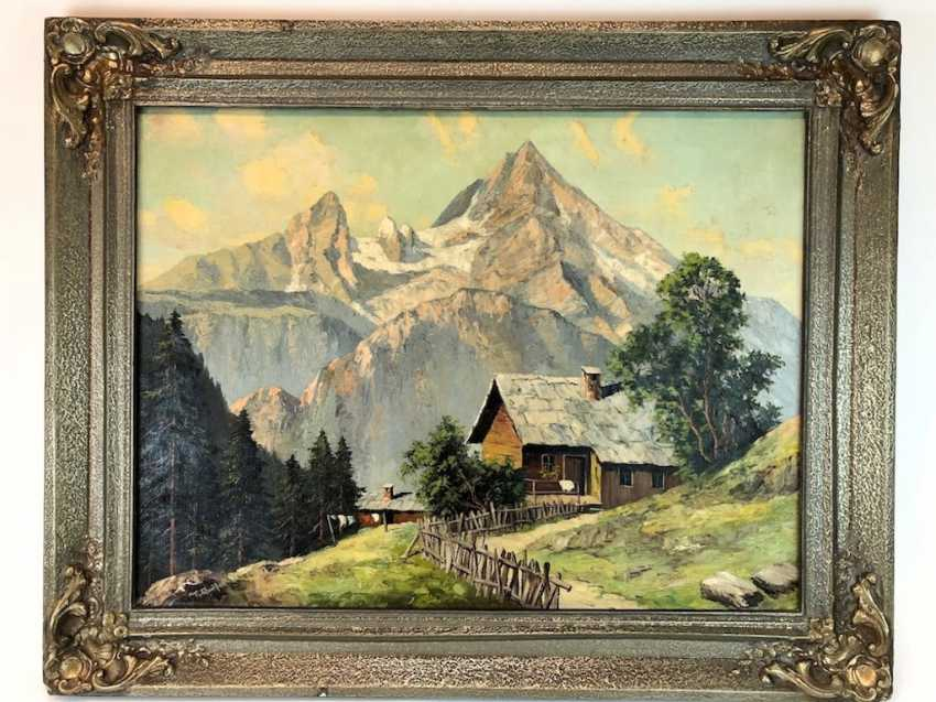 R. Queißer: farmhouse in front of Alpine Panorama. Oil on canvas. Early 20. Century - photo 1