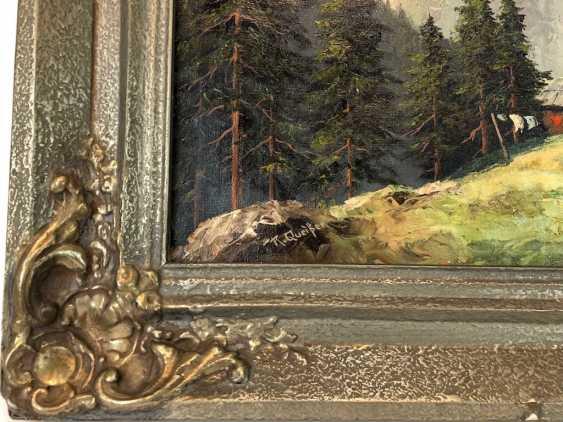 R. Queißer: Ferme devant Alpes Panorama. Huile sur Toile. Précoce de 20. Siècle - photo 2
