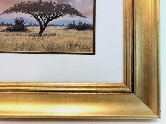 Ron Waldeck (1946 Rhodesia - in South Africa): steppe landscape in South Africa, with an umbrella acacia. Watercolor on handmade paper. - photo 2