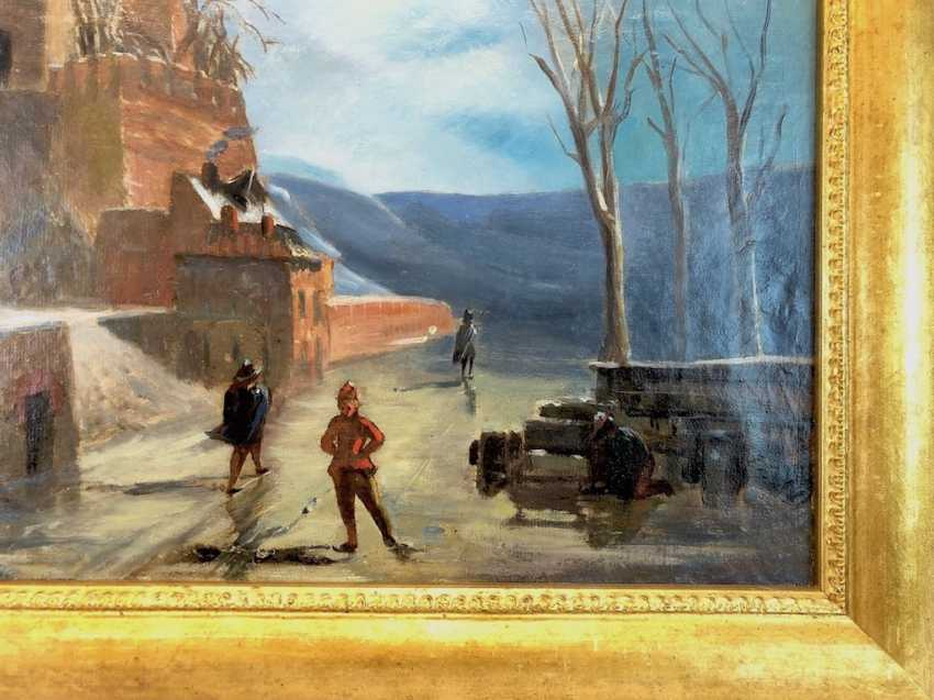 """The German artist: """"the skaters digging at the frozen castle,"""" according to Abel Grimmer. Oil / canvas, realism, 1870. - photo 2"""