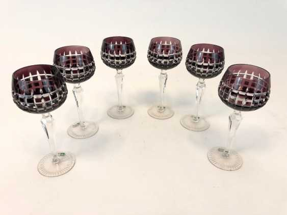 """Six crystal Roman: mouth-blown, hand-ground, """"Lausitzer Glas"""". Very good. - photo 2"""