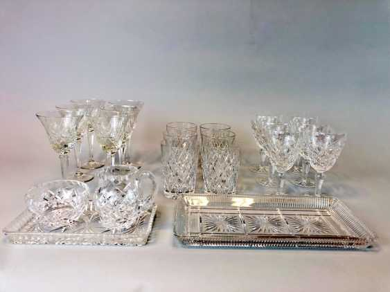 Great Post Crystal: 6 + 6 Wine Glasses, Water Glasses, Beer Glasses, Trays. Ges. 22 piece very good condition. - photo 1