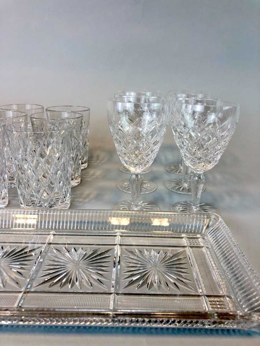 Great Post Crystal: 6 + 6 Wine Glasses, Water Glasses, Beer Glasses, Trays. Ges. 22 piece very good condition. - photo 3