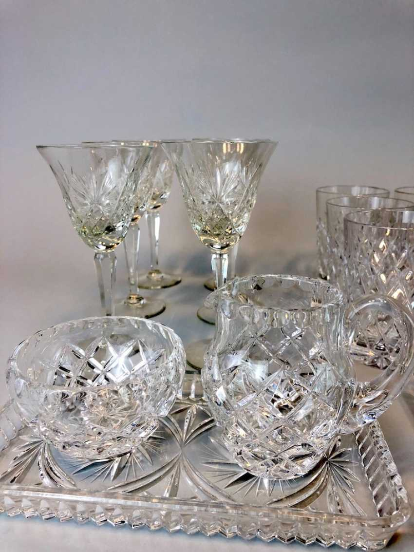 Great Post Crystal: 6 + 6 Wine Glasses, Water Glasses, Beer Glasses, Trays. Ges. 22 piece very good condition. - photo 4