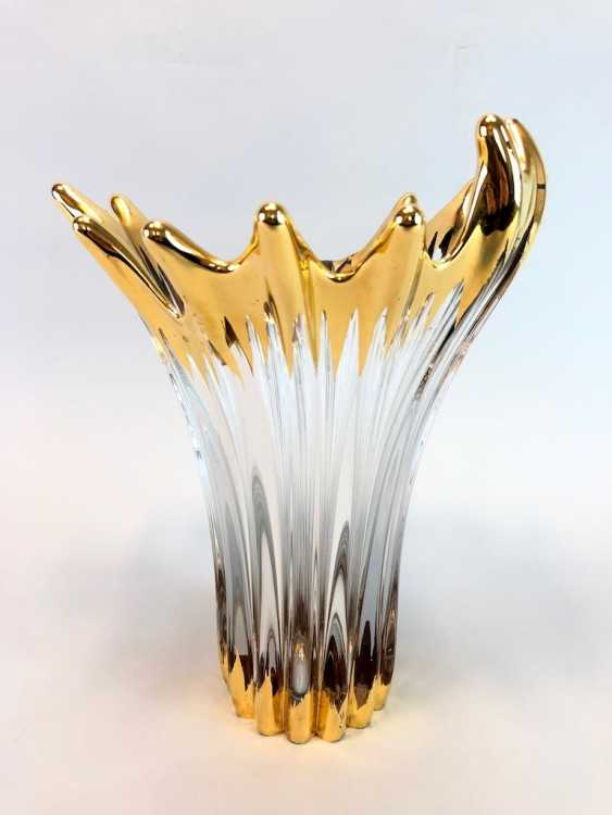 Large handmade glass vase, gold plated. - photo 5