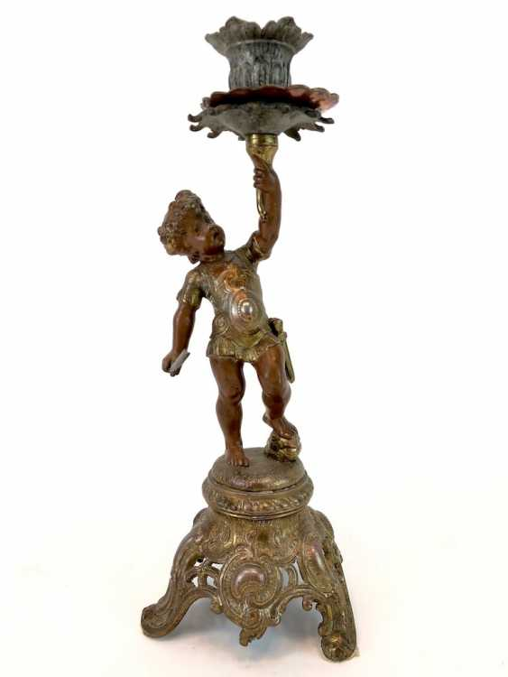 Figural candlesticks: Roman boy with a sword and armor. - photo 1