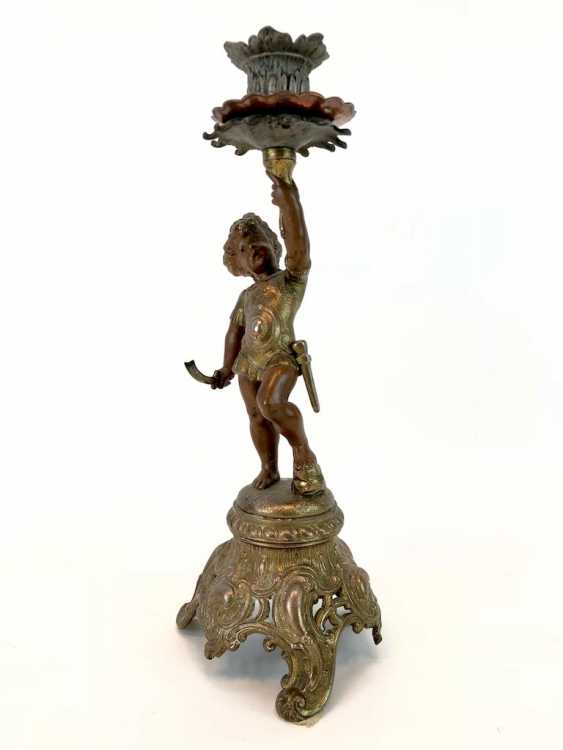Figural candlesticks: Roman boy with a sword and armor. - photo 2