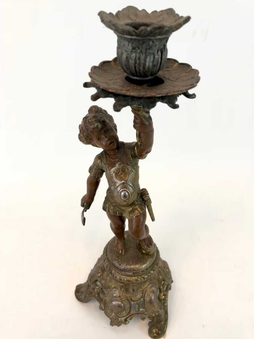 Figural candlesticks: Roman boy with a sword and armor. - photo 4