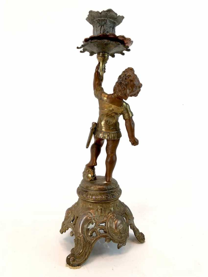 Figural candlesticks: Roman boy with a sword and armor. - photo 5