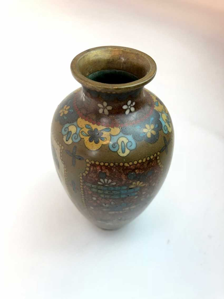 Brass vase with glass flux and ceramic. Hand-work. - photo 3