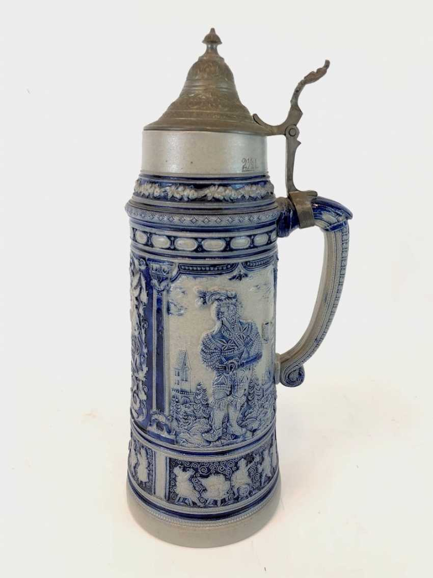 """Very large stoneware jug: """"Whether knight's man servant, whether the country, each prick is fond of his Glass of wine."""" - photo 1"""