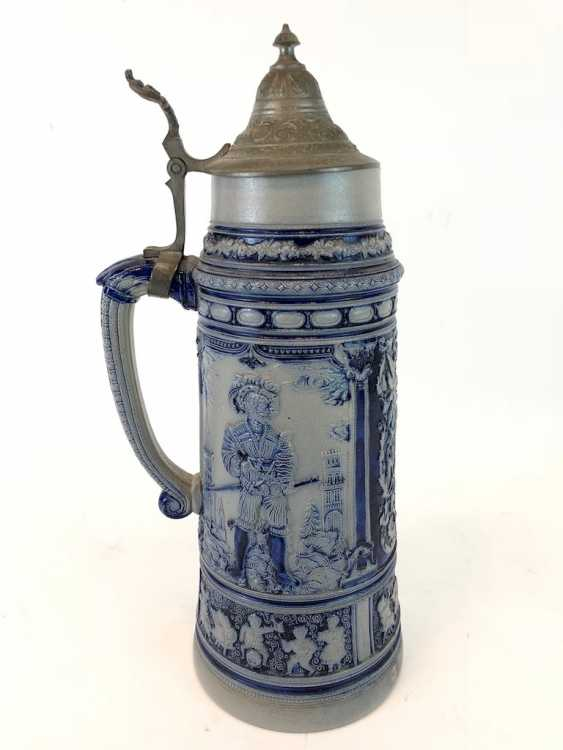 """Very large stoneware jug: """"Whether knight's man servant, whether the country, each prick is fond of his Glass of wine."""" - photo 3"""