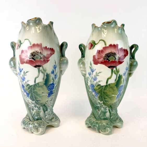 Pair of art Nouveau style vases: decor, poppies and Larkspur. Luneville Faience / Fayence. 1900. - photo 1