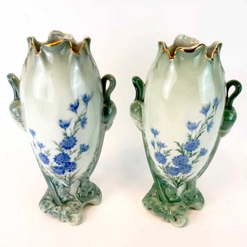 Pair of art Nouveau style vases: decor, poppies and Larkspur. Luneville Faience / Fayence. 1900. - photo 3
