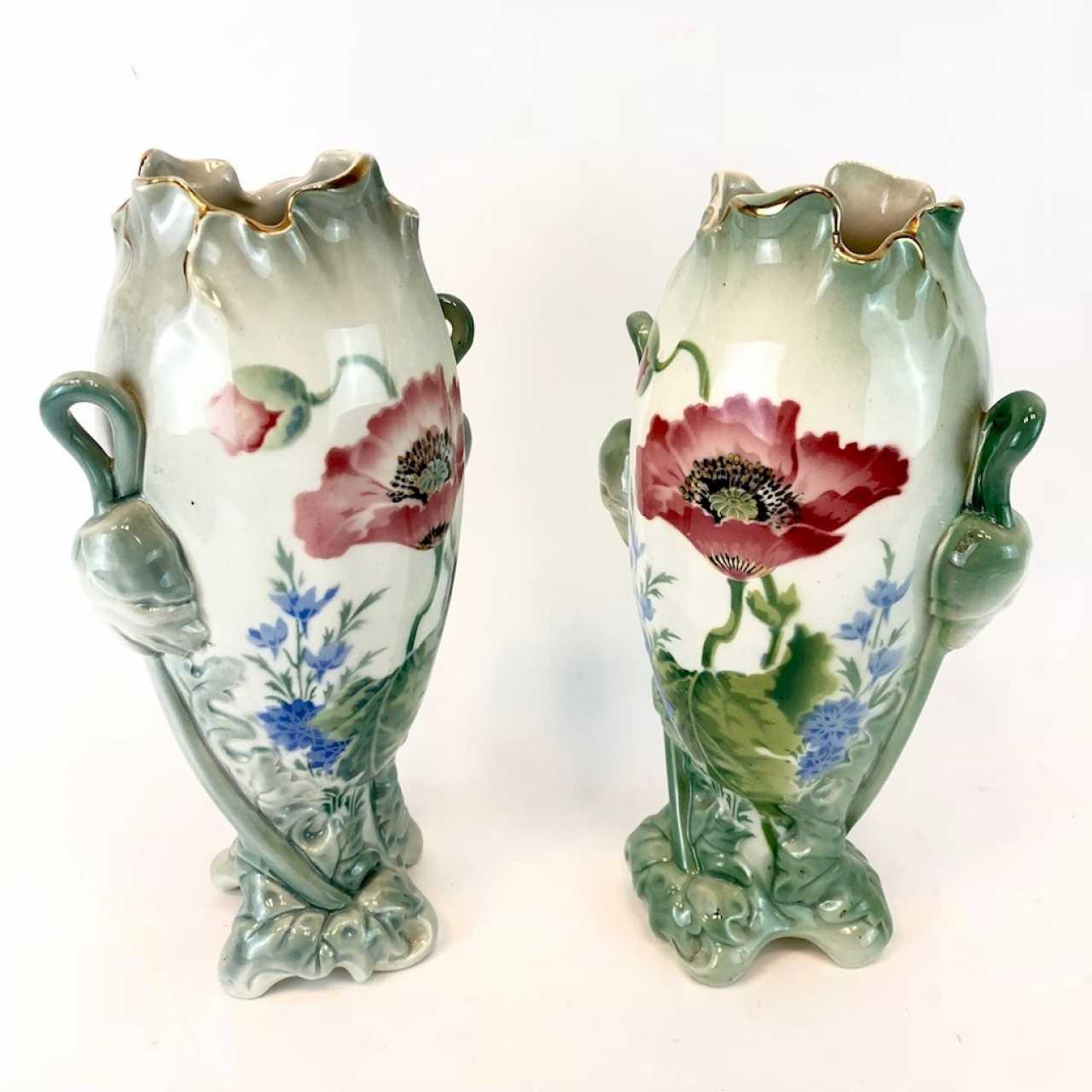 Art Nouveau Inspired California Poppy By Mason Larose: Auction Pair Of Art Nouveau Style Vases: Decor, Poppies