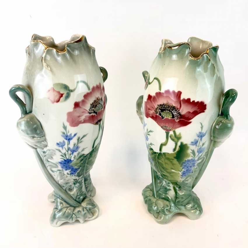 Pair of art Nouveau style vases: decor, poppies and Larkspur. Luneville Faience / Fayence. 1900. - photo 5