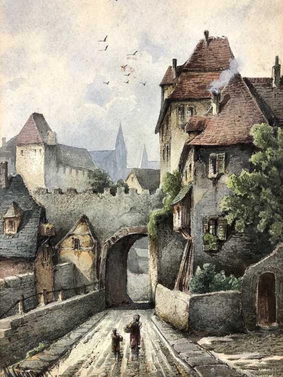 """Max Gebhardt (geb. In 1864, Meißen): """"alley in Meissen"""". Watercolour around 1900. - photo 1"""
