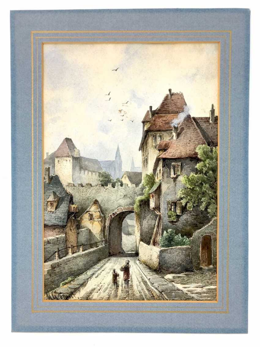 """Max Gebhardt (geb. In 1864, Meißen): """"alley in Meissen"""". Watercolour around 1900. - photo 2"""