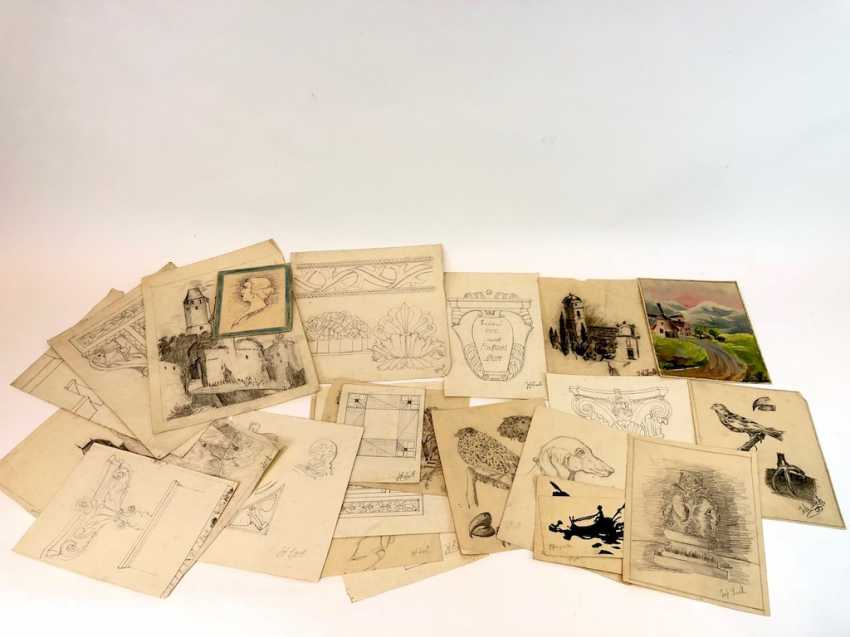 John Beck: drawing Stolpen, studies, architecture, animals and plants. Early 20. Century - photo 2
