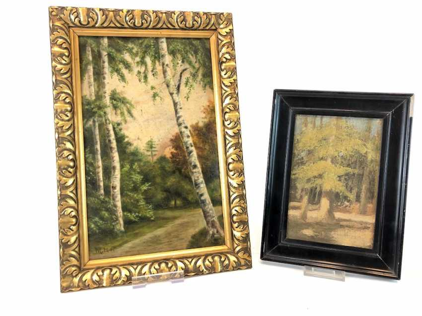 """M. Hagemann: """"birch forest"""" and """"forest"""". Oil painting, early 20th. Century - photo 1"""