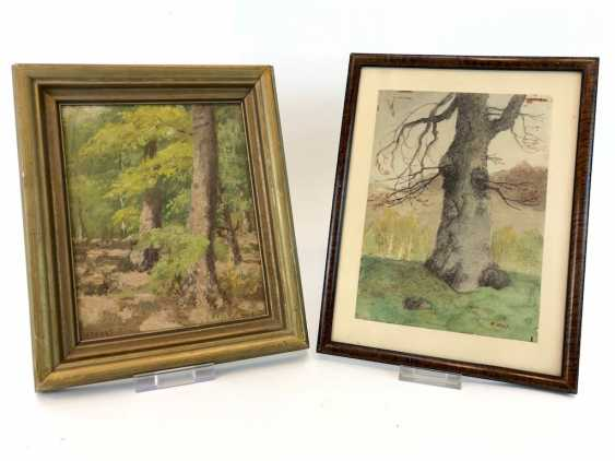 """H. Wolf: """"the old tree"""" - watercolor and """"forest"""" Oil painting, early 20th. Century - photo 1"""