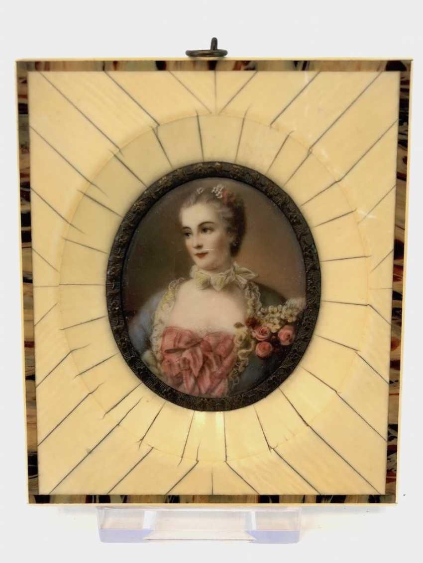 "Elfenbein Miniatur: ""Madame de Pompadour"" / Jeanne-Antoinette Poisson. - photo 2"