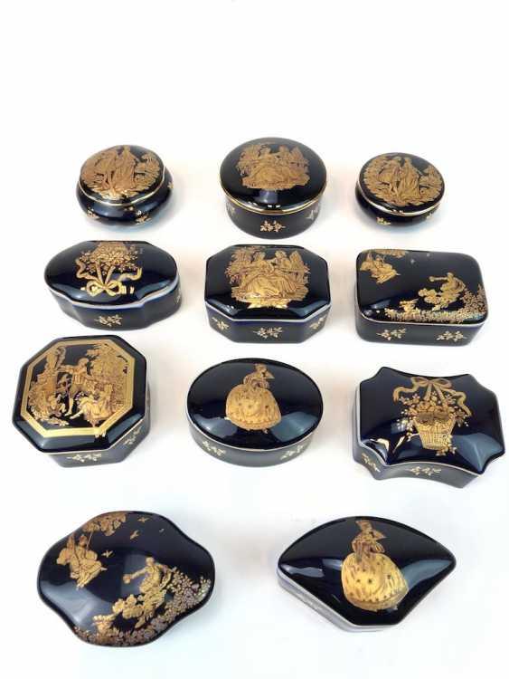 Одиннадцать Zierdosen: кобальт синий с Filgran золотой Декор. Royal Limoges. - фото 1