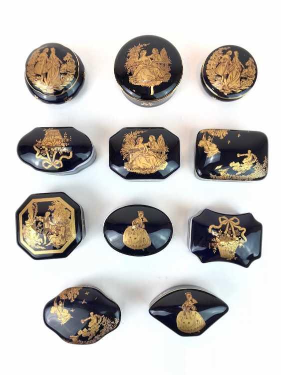 Одиннадцать Zierdosen: кобальт синий с Filgran золотой Декор. Royal Limoges. - фото 2