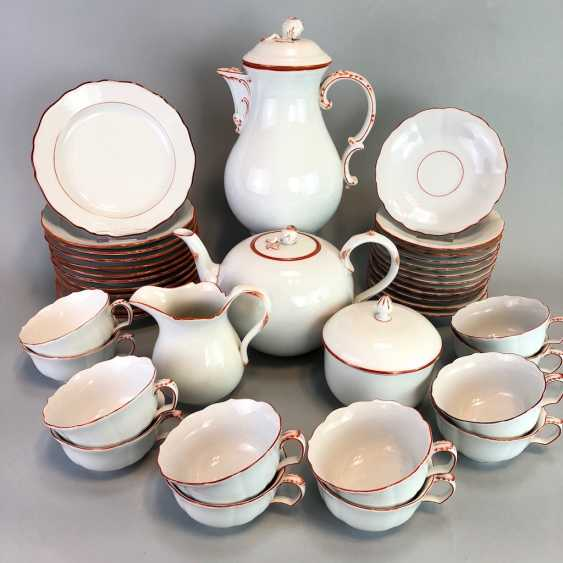 Tea Service, Meissen porcelain, New cutting, decor, coral red, around 1910, perfectly! - photo 1