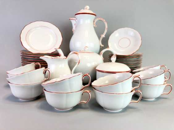 Tea Service, Meissen porcelain, New cutting, decor, coral red, around 1910, perfectly! - photo 4