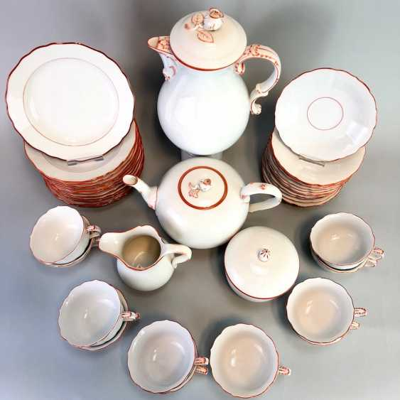 Tea Service, Meissen porcelain, New cutting, decor, coral red, around 1910, perfectly! - photo 5
