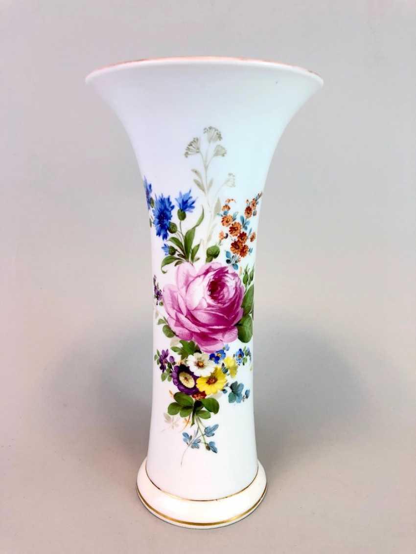 Bar vase / funnel vase: Meissen Teichert marked, flower Bouquett. - photo 1
