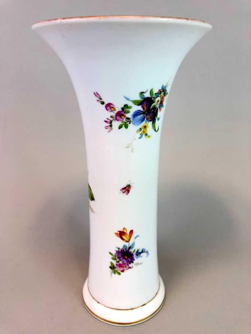 Bar vase / funnel vase: Meissen Teichert marked, flower Bouquett. - photo 3