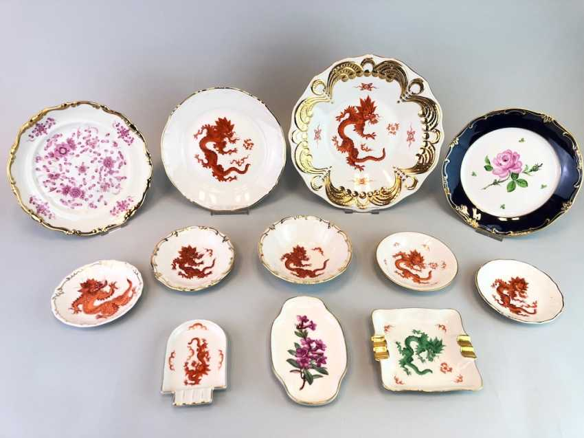 12 plates and shells in décor, red dragon and Red Rose. Very good. - photo 2