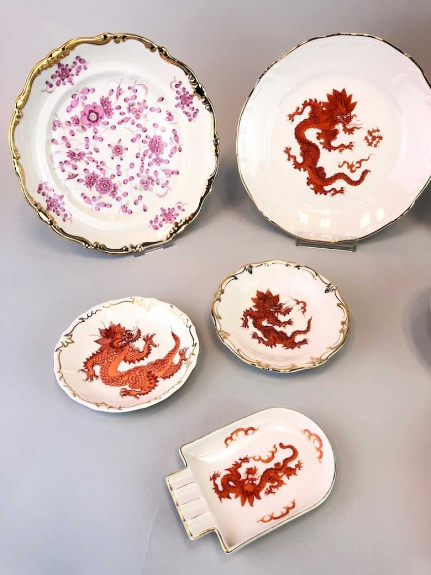 12 plates and shells in décor, red dragon and Red Rose. Very good. - photo 4