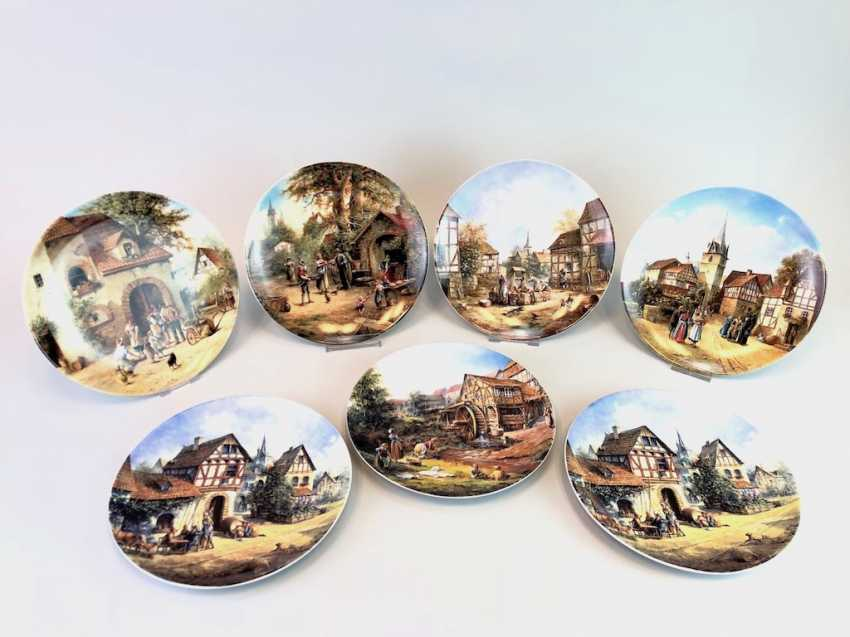 """Seven institutional / wall plate: Eleonore Guinther for Reichenbach porcelain adorns. """"Romantic Village Life"""". 1992/93. - photo 2"""