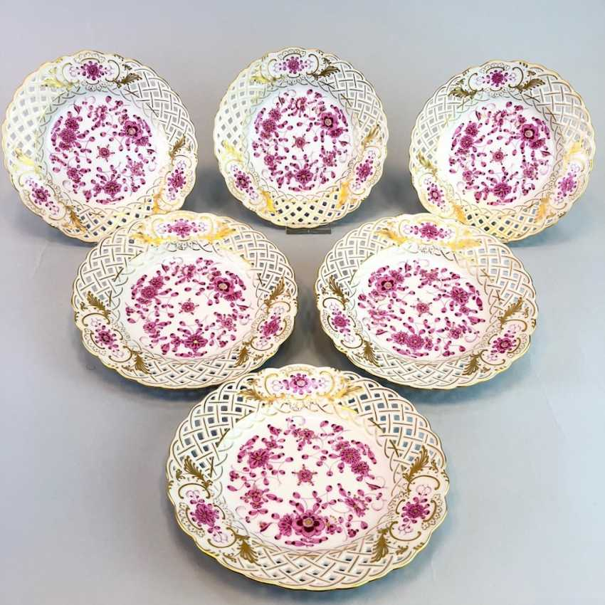 Six Breakthrough Dish: Meissen Porcelain. Indian purple painting rich with Gold. - photo 1