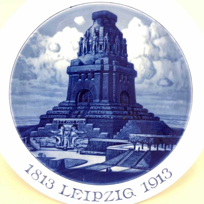 Plate / Wall Plate: Anniversary 100 Years Of The Battle Of Nations, 1813 - 1913. The Battle Of The Nations Monument, Leipzig, 1913. - photo 2