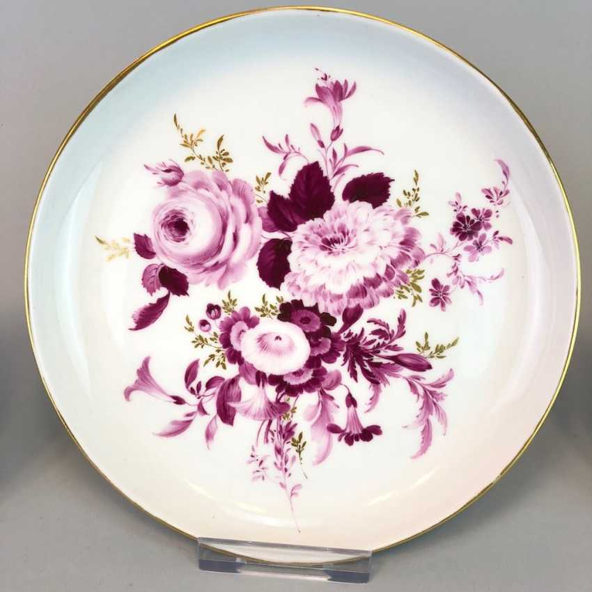 Ornamental plates / wall plates: Meissen porcelain, flower painting grasses with Gold, very good. - photo 1