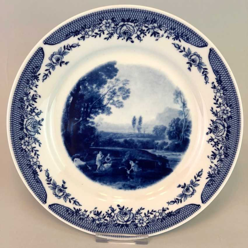 Three plate / wall plate adorned with foliage: Meissen porcelain, cobalt blue and Wine, very good. - photo 2