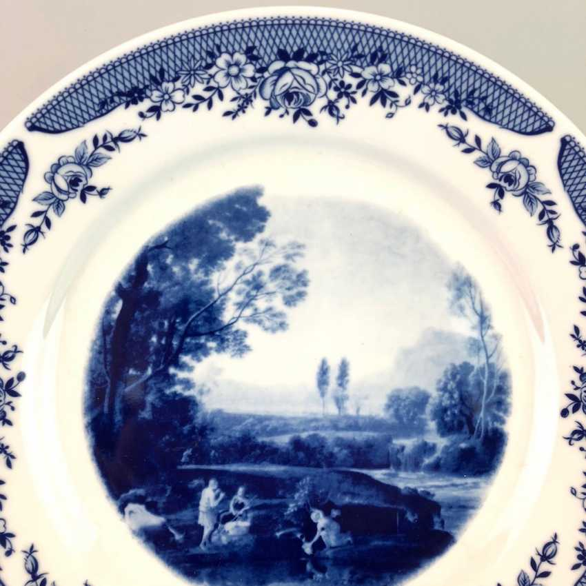 Three plate / wall plate adorned with foliage: Meissen porcelain, cobalt blue and Wine, very good. - photo 3