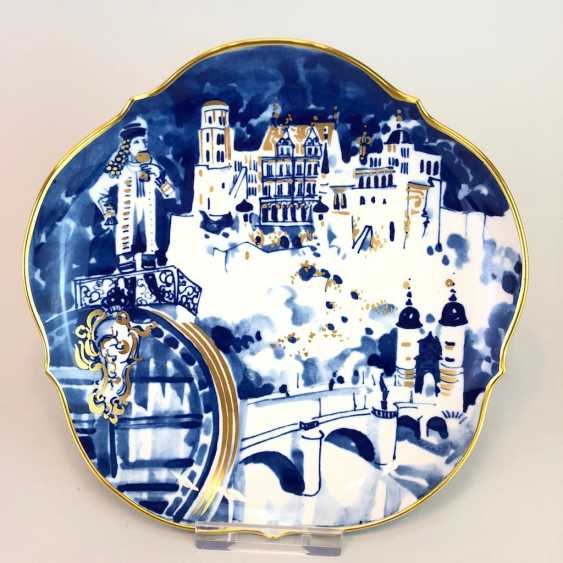 Institutional / wall plate: Meissen porcelain, view of Heidelberg, Gold-adorned, very good. - photo 1