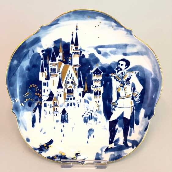 Institutional / wall plate: Meissen porcelain adorns, view of Neuschwanstein castle of Ludwig II and Gold, very good. - photo 1